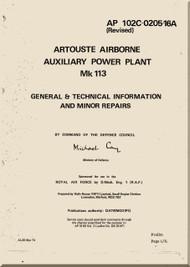 Turbomeca Artouste Airborne Auxiliary Power Plant Mk 113  Manual - AP 102C-0205-16A -1974