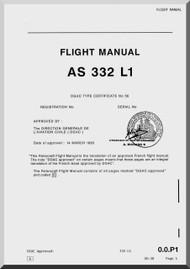 Aerospatiale AS 332 L1 Super Puma  Helicopter Flight Manual  ( English Language )