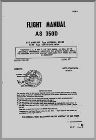 Aerospatiale AS 350 D  Helicopter  Flight Manual  ( English Language ) , 1979