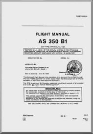 Aerospatiale AS 350 B1 Helicopter  Flight Manual  ( English Language )
