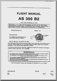 Aerospatiale AS 350 B2 Helicopter  Flight Manual  ( English Language )