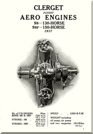 Clerget Blin 9B 9BF  Aircraft Engine Technical Manual   ( English Language )