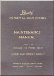 Bristol Hercules 763  Aircraft Engine Maintenance Manual  ( English Language )