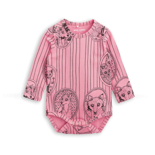 Fox Family LS Bodysuit Pink