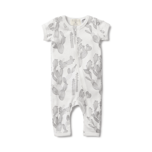 A must-have piece for little ones in Summer!  Wilson and Frenchy's beautifully illustrated I'm stuck on you short sleeve onesie with legs is soft and practical.   This all-in-one grow suit is made from 100% cotton with a front zip opening means you can quickly change your bub on the go.  Fabric Composition: 100% Cotton Machine washable.  From Wilson and Frenchy's SS17/18 collection.  Matching baby linen and bodysuits also available at YOKO, sold separately.