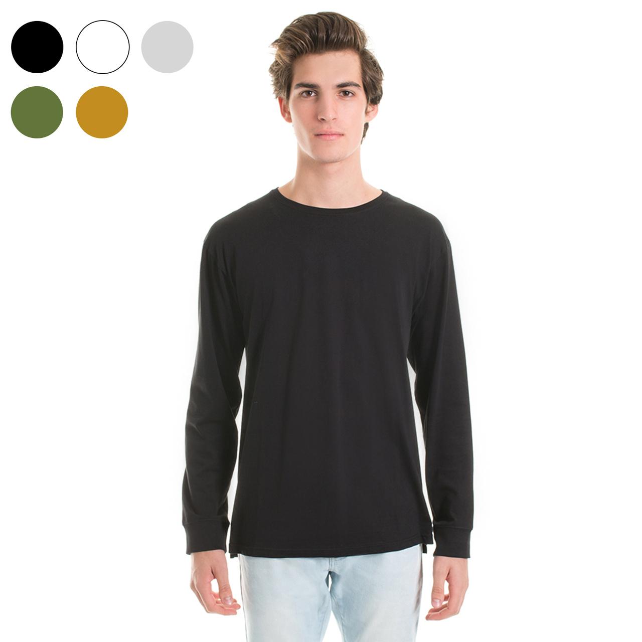Plain black t shirt quality - New Mens Plain Blank Longsleeve T Shirt 100