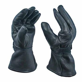 Black Deerskin Motorcycle Gauntlet Glove with Thinsulate Lining