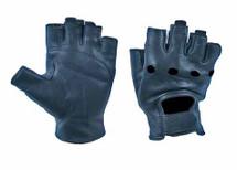 Black Deerskin Fingerless Gloves w/Pull Tabs