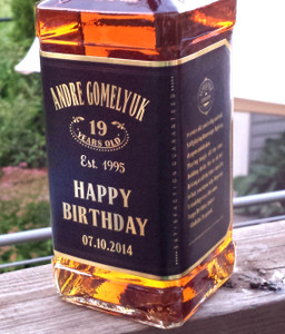 Personalized Whisky Gold Foil Labels (JD Style) Happy Birthday