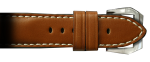 RIOS1931 26x22 XL Smooth Medium Brown Genuine Vintage Leather Watch Strap for Panerai Radiomir Watches | Paneraibands.com