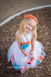 Rose Petal Dress Combination Orange and Turquoise (Custom Colors)