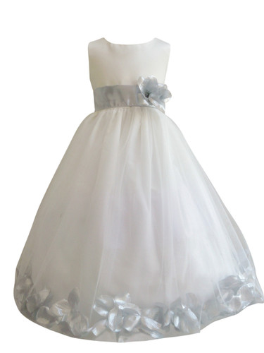 Flower girl dress rose petal ivory silver easter wedding communion flower girl dress rose petal ivory silver mightylinksfo