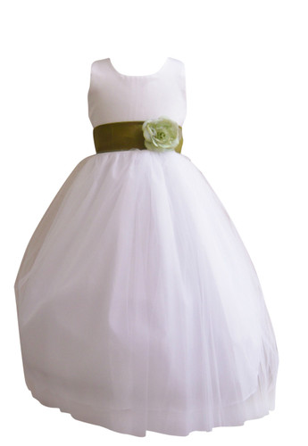 Flower girl dress simple classy tulle white green olive mightylinksfo
