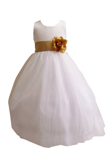 Girl dress simple classy tulle white gold flower girl dress simple classy tulle white gold mightylinksfo Gallery