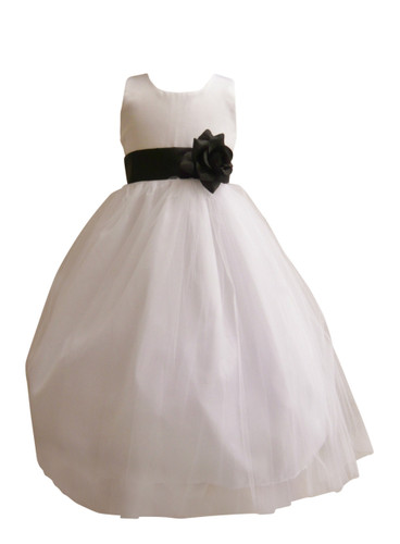 Flower girl dress simple classy tulle white black mightylinksfo
