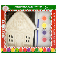 Sassafras Paint  Your Own Gingerbread House Kids Activity Craft Kit with Paints and Ceramic Figure