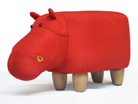 Small Red Hippo Animal Stool