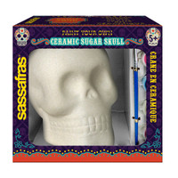 Sassafras Paint  Your Own Sugar Skull Kids Activity Craft Kit with Paints and Ceramic Figure