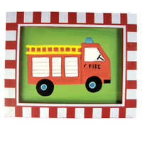 Fire Engine Framed Canvas