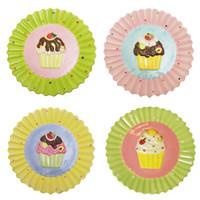 Set of 4 Cupcake Dessert Plates