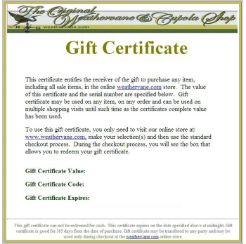 The Weathervane Shoppe  Gift Certificate Samples