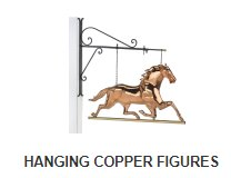 Copper hanging figure selections at weathervane and cupola shoppe