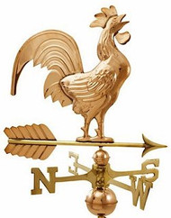 Crowing Rooster Weathervane - Polished
