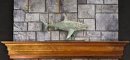 Shark in Blue Verde Copper Mantel Weathervane