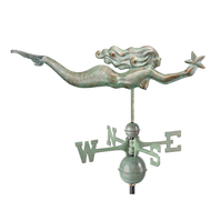 Good Directions Mermaid with Starfish Weathervane - Blue Verde Copper