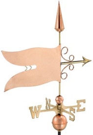 Good Directions Banner Weathervane - Polished Copper