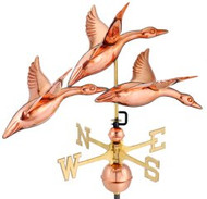 "Good Directions 28"" 3 Geese in Flight Weathervane - Polished Copper"