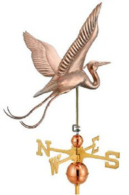Good Directions Blue Heron Estate Weathervane - Polished Copper