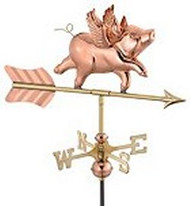 Weathervane - Flying Pig - Copper With Mount