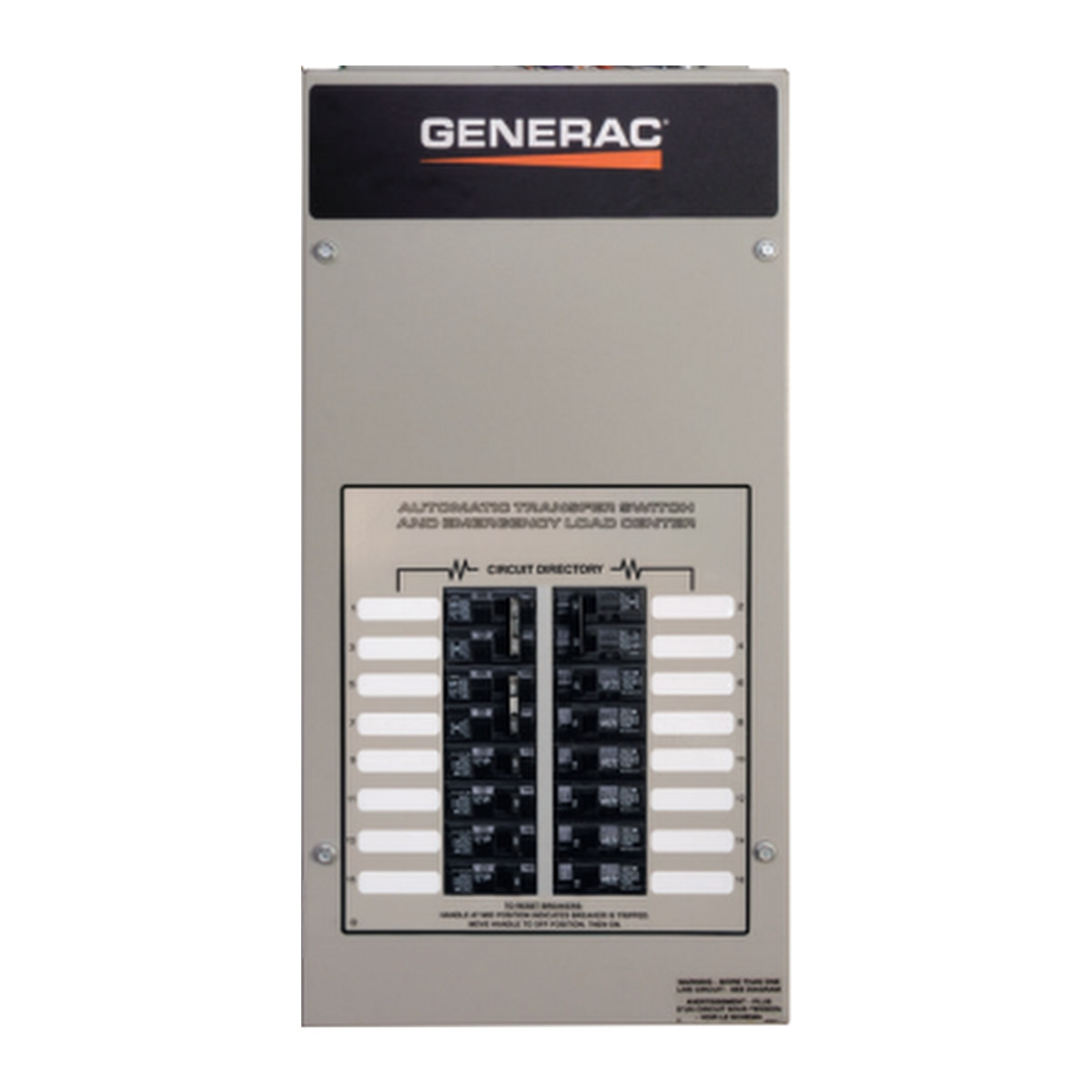 Rxg10eza1 Generac 50a 10 Circuit Transfer Switch W Load Center Kit Wiring Diagram 1 120 240v Nema Automatic With