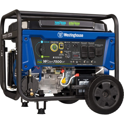 Westinghouse WGen7500DF 7500W Dual Fuel Electric Start Portable Generator with Wireless Remote Start