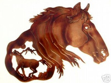 Mustang Head Western Metal Wall Art