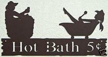 Hot Bath Rustic Western Metal Art Word Sign