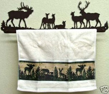 Elk Towel Rack Bar Rustic Lodge Decor Metal Art