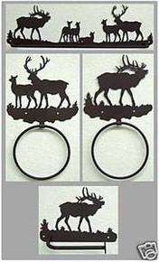 Elk Bathroom Set Rustic Lodge Wildlife Metal Art Decor