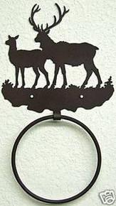 Elk Bull and Cow in Hills Metal Art Towel Ring