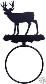Deer Buck Rustic Lodge Decor Towel Ring