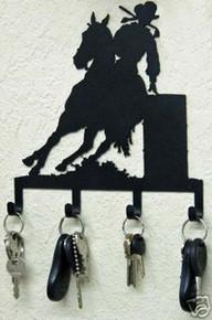 Cowgirl Barrel Racer Horse Western Key Holder