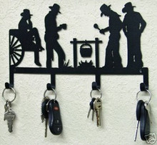 Cowboys at Campfire Western Metal Art Key Holder