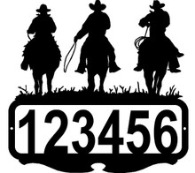 Cowboy Riders Western  Custom Address Sign