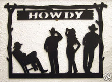 Cowboy Howdy Metal Wall Art Welcome Sign