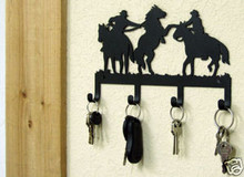 Cowboy Horse Roping Metal Key Holder