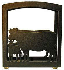 Cow and Calf Metal Art Napkin Holder