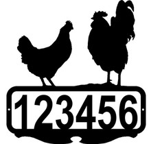 Chickens Rooster and Hen Custom Address or Name Sign