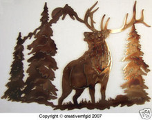 Bull Elk Wilderness Metal Wall Art