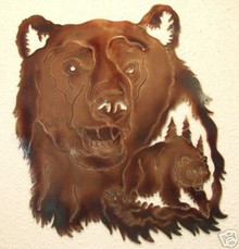 Bear inside Bear Head Wall Metal Art Lodge Decor